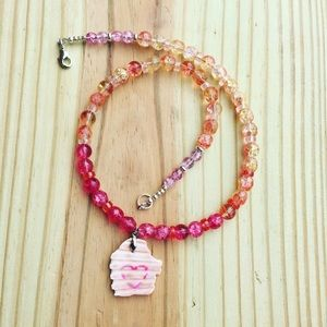 Jewelry - Pink Beach Necklace Crackle Glass Heart Sea Shell